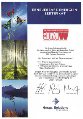 JMW Certificate Green Electricity