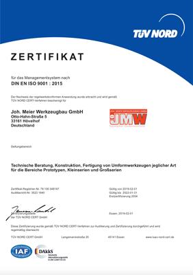 JMW Zertifikat DIN EN ISO 9001